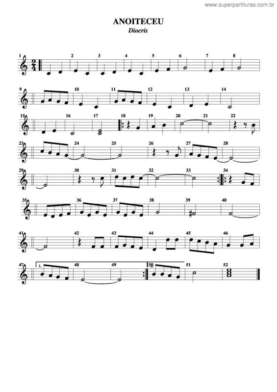 Super Partituras - Anoiteceu (Diocris), com cifra